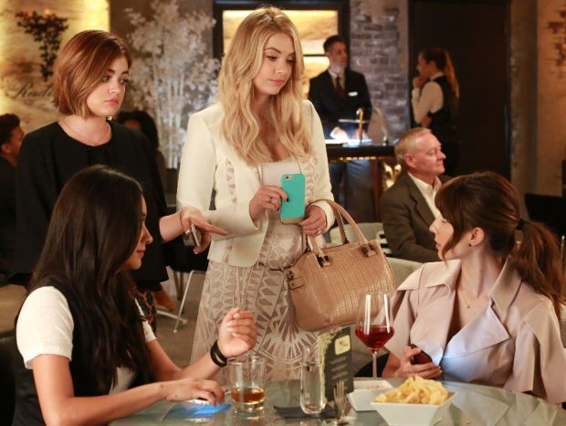 Clockwise from bottom left: Emily (Shay Mitchell), Aria (Lucy Hale), Hanna (Ashley Benson) and Spencer (Troian Bellisario) in the midseason premiere. Photo: ABC Family/Ron Tom