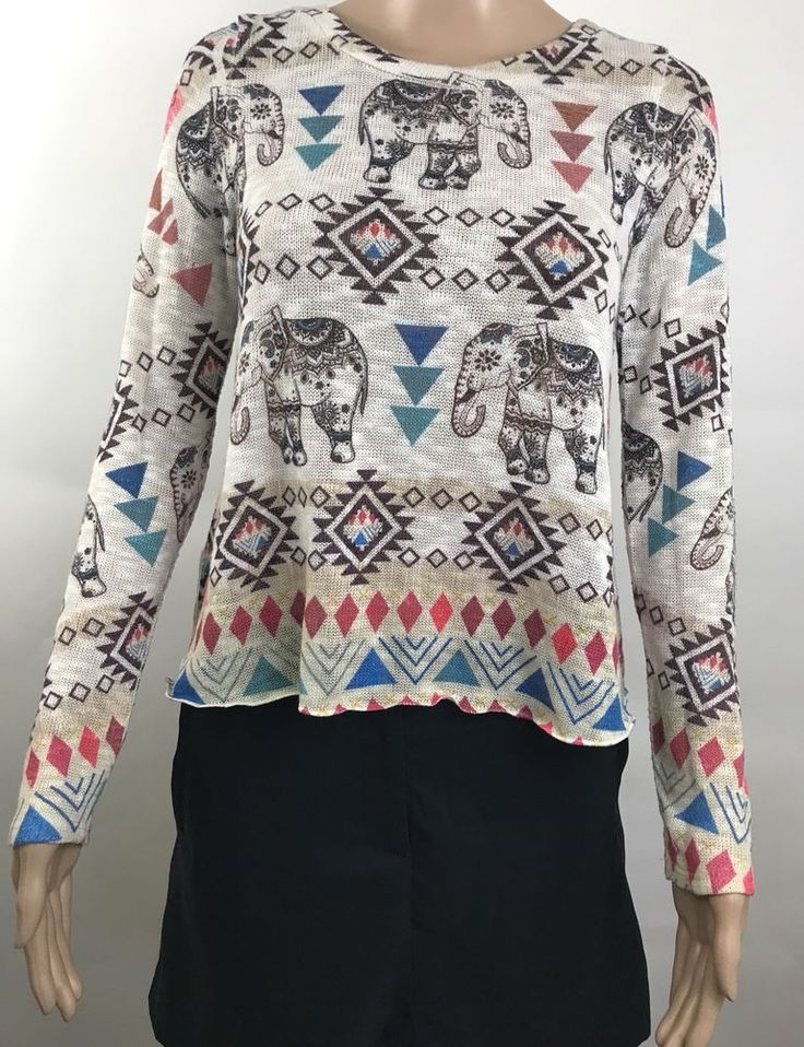 Women's Elephant Sweater Gage USA size small aztec design  #GageUsa #AnimalPrint #aztecdesign #womensfashion #style #forsale #shopping #clothing #ebayfashion #ebay #ebaystore #topratedseller #buyitnow #bestofferaccepted