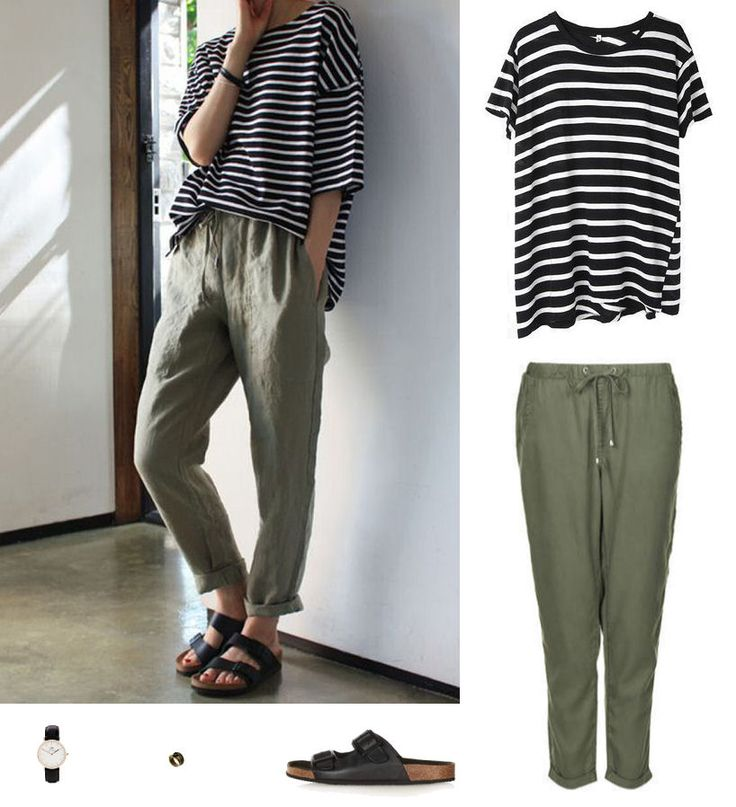 FLIP AND STYLE || Sydney Fashion and Beauty Blog:  Striped top worn with kahki slouch pants with black slide sandals...great look.