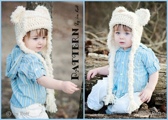 Dream Cloud Teddy Bear Kitty Cat Hat Crochet PDF Pattern  $7.50 CAD