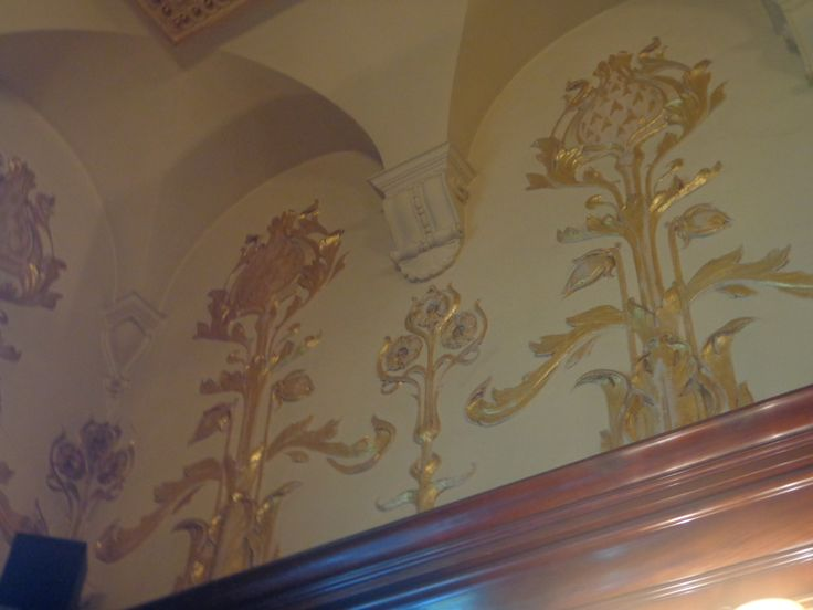 Philharmonic Dining Rooms, Photograph taken of the dining hall, engraved patterns.