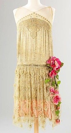 Evening dress ivory silk drop-waist French with pink roses, ca 1925. Front