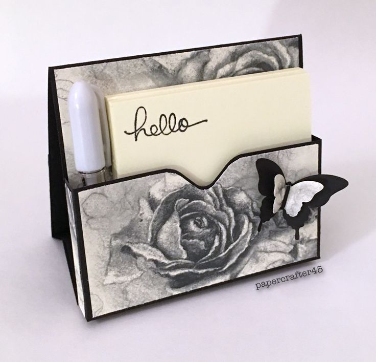 """Here's a wonderful Freestanding Post-It Note Holder designed by Stampin' Up! demonstrator Jan Brown. This is a great project … so easy to make! Such a thoughtful & practical gift, too! Supplies for this one, created by papercrafter45, include SU!'s Basic Black cardstock, """"Timeless Elegance"""" DSP, Bitty Butterfly punch & Elegant Butterfly punch. Sentiment is from the """"Endless Birthday Wishes"""" stamp set."""