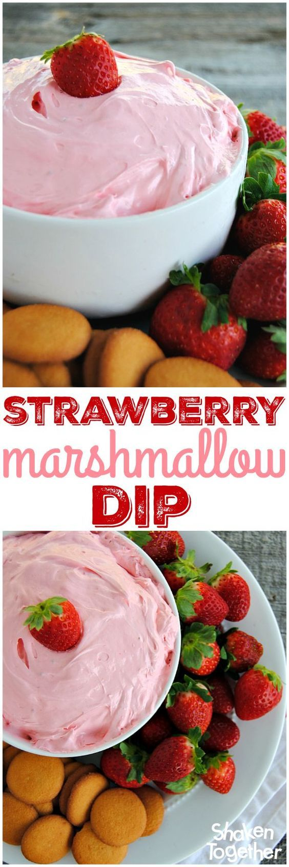 Strawberry Marshmallow Dip! 2 ingredients, sweet and fluffy - this is a big bowl of dippable deliciousness!