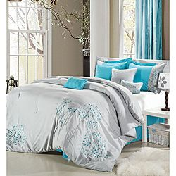 Grey/Blue 8-piece Comforter Set: Beds, Bag, Comforter Sets, Grey, Pink Floral, Master Bedroom, Bedroom Ideas, 8 Piece