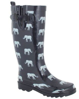Ladies Elephant Clothing | ... Shiny Elephant Parade Printed Ladies Rain Boot Navy Combo 9: Shoes