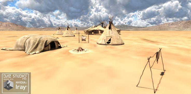 Native Cheyenne Village iray Render