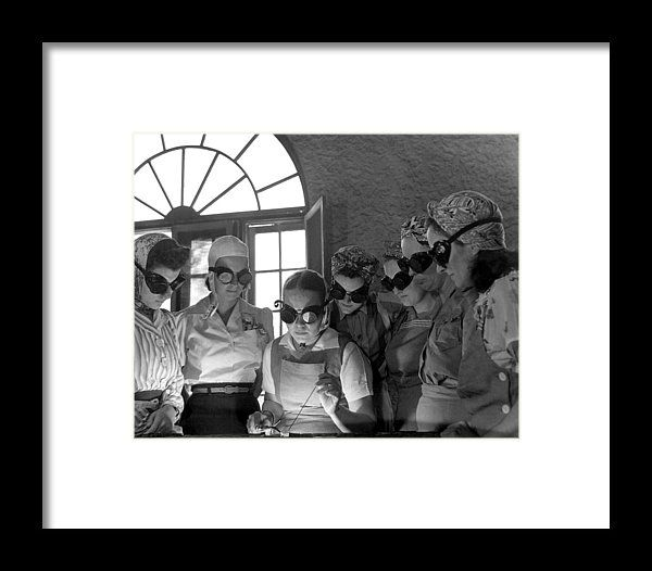 Welding Training For Women Framed Print by Everett. All framed prints are professionally printed, framed, assembled, and shipped within 3 - 4 business days and delivered ready-to-hang on your wall. Choose from multiple print sizes and hundreds of frame and mat options.