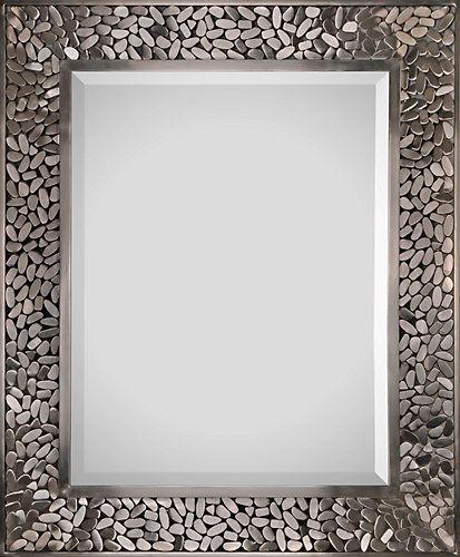 Soldered satin nickel plated frame. Bevelled center mirror.