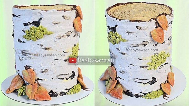 All buttercream birch tree stump cake decorating tutorial - relaxing, sa...