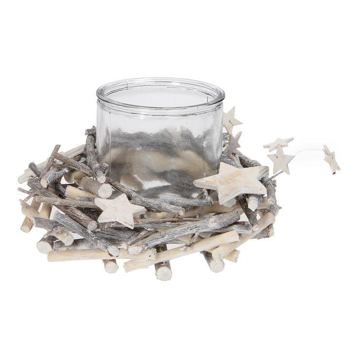 Een waxinelichtje of kaars schijnt sfeervol in deze glazen pot met krans. Het whitewash effect, de sterretjes en glitters maken de winterse sferen compleet. Afmetingen: Ø 20 x 13 cm. - Sfeerlicht Ster