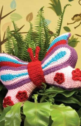 Brilliant Butterfly Pillow Free Crochet Pattern from Red Heart Yarns