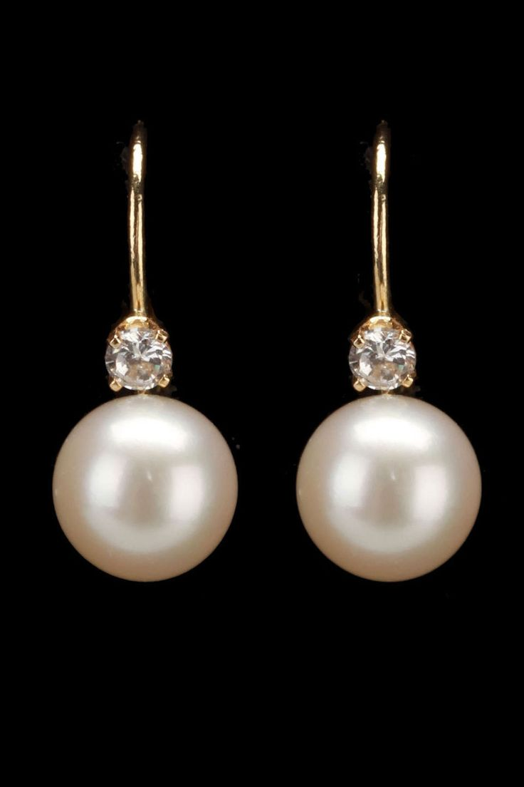 Splendid Pearls 775mm Cultured Pearl, Zirconia & 14k Yellow Gold Earrings