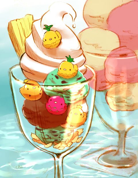 パイナップル、マンゴー、ドラゴンフルーツ。チョコミントアイスは爽やかで好きです。