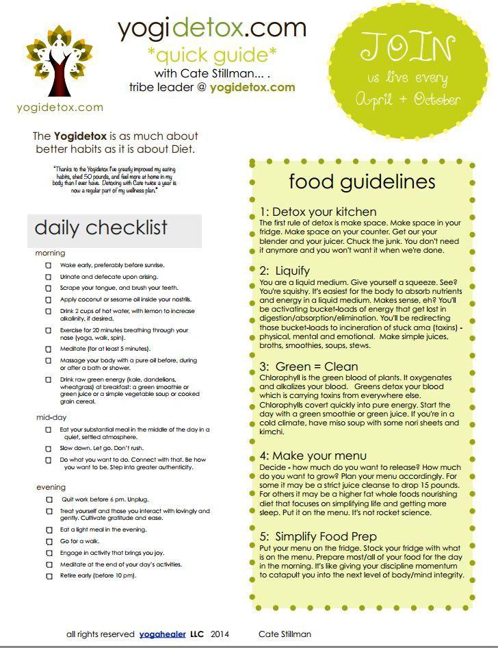 Detox Tip Sheet http://yogahealer.com/detox-cheatsheet-daily-checklist-food-guidelines/