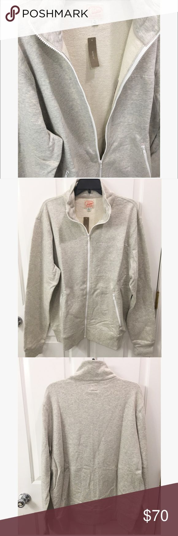 NEW J.Crew Zip-Up Beautiful heather grey zip up with white zipper accents and French terry lining. Sweat shirt is incredibly soft and durable...truly excellent quality. Only selling because my husband needs a different size or else this certainly would have been kept! J. Crew Shirts Sweatshirts & Hoodies