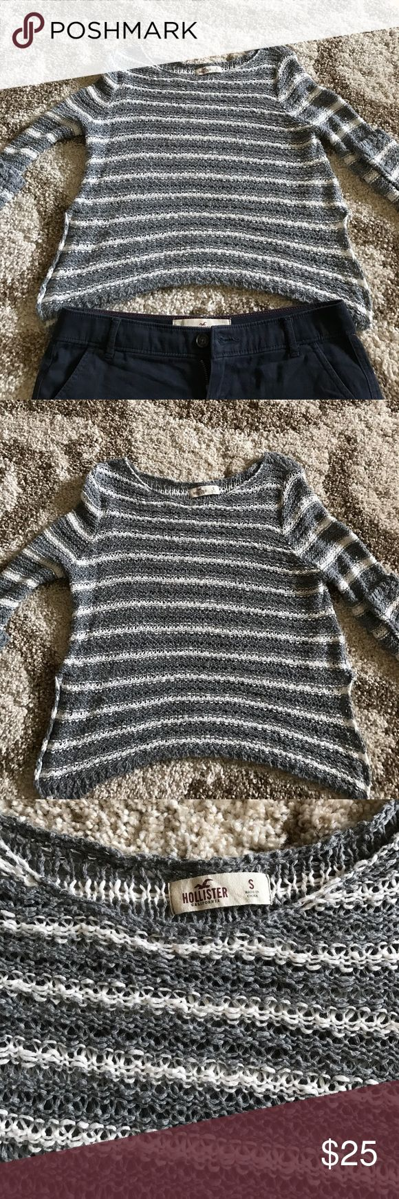 Hollister Open Stitch Sweater This piece is SO SOFT! Perfect for summer to wear over a tank, bandeau or bikini top.  Top is in great condition; size is small.  Grey and white stripes are very neutral! Pair with a pair of Chino shorts or Denim Shorties! Hollister Sweaters