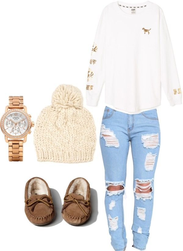 Football game outfit junior year by a-symone-b featuring a sport watch ❤ liked on Polyvore Victoria s Secret PINK graphic shirt, €44 / Ripped jeans, €34 / Abercrombie & Fitch Minnetonka Cally Slipper,...