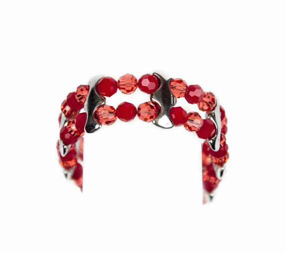 Swarovski Red & Pink Hand Made Crystal Cuff by LLDArtisticJewelry