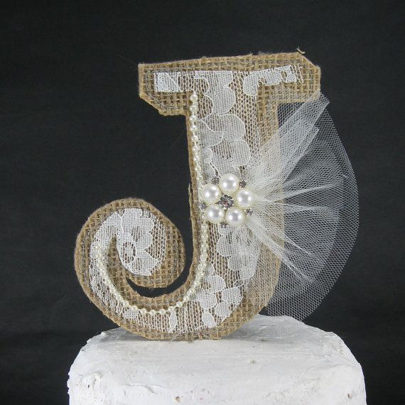 Burlap Monogram Cake Topper Rustic Burlap Lace by Hartranftdesign