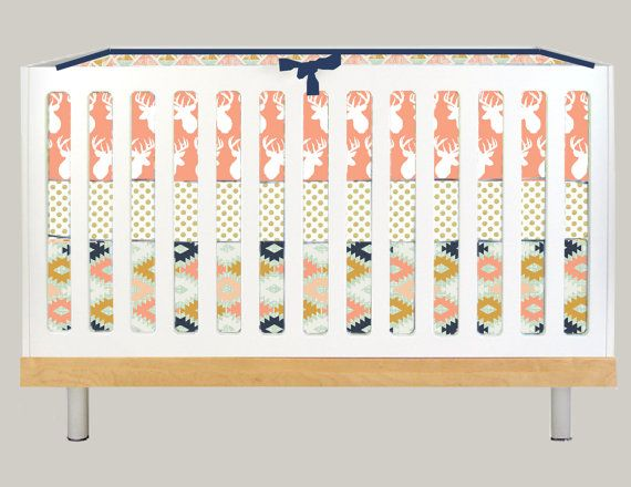 Crib Bedding Modern Baby Girl Deer Antler Peach By Modifiedtot