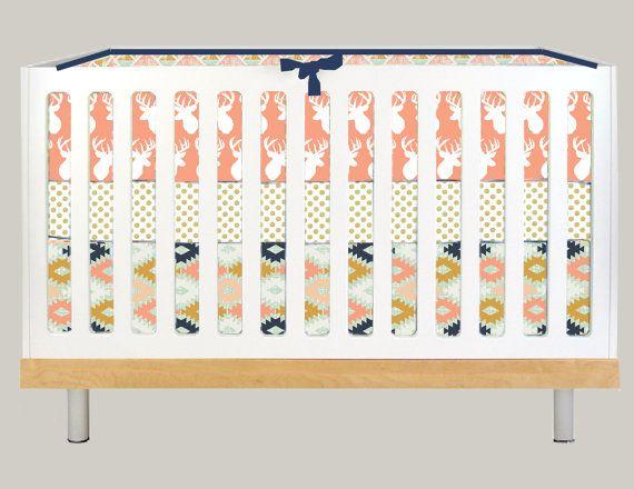 Crib Bedding Modern Baby Girl Deer Antler Peach By Modifiedtot