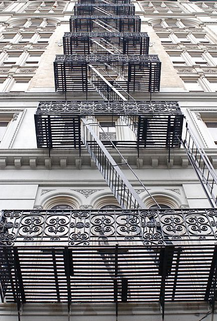 Fire Escape Stairs, Canal Street, New York City, photo by Noel Y. C. - NYC♥NYC.