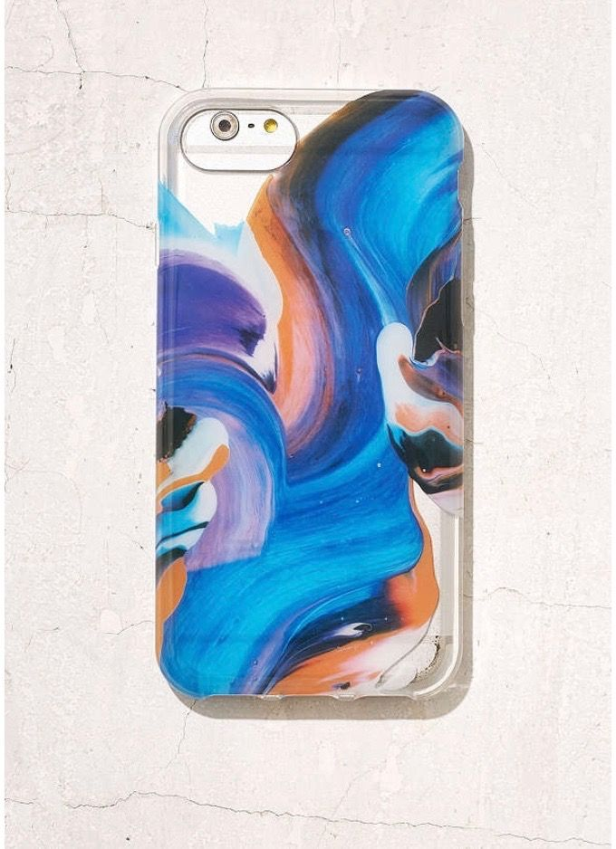 Could just paint on the inside of a clear phone case, maybe seal with clear nail polish so it doesn't stain the phone