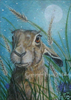"Print Hare ""Harvest Moon""  Lisa O'Malley"