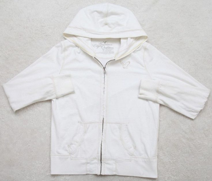 Hooded Sweatshirt White American Eagle Large Women Zip Front Cotton Polyester #AmericanEagleOutfitters #Hoodie