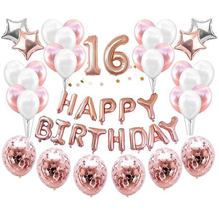 16th Birthday Decorations Balloon,16th Rose Gold Number Balloons, Number 16 Birthday Balloons, Sweet 16 Years Old Birthday Decoration * Check this awe...
