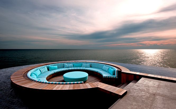 Floating lounge at Avi Spa @ Avillion Resort in Port Dickson, Malaysia