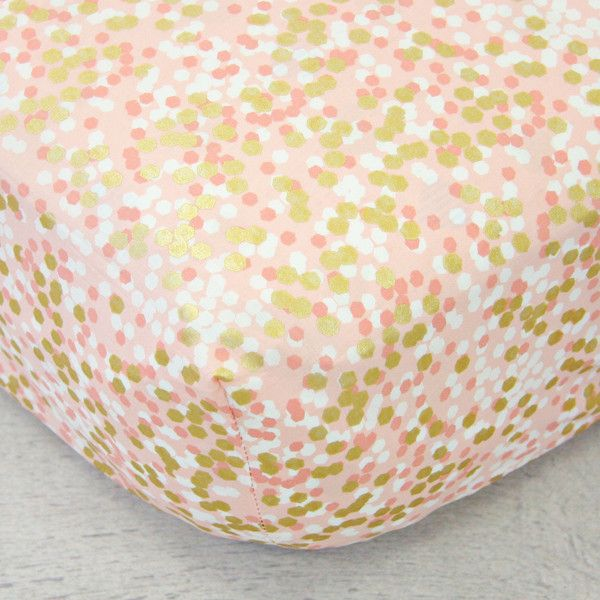 Caden Lane   Crib Sheets - Gold Dot   Coral and Gold Sparkle Crib Bedding Set