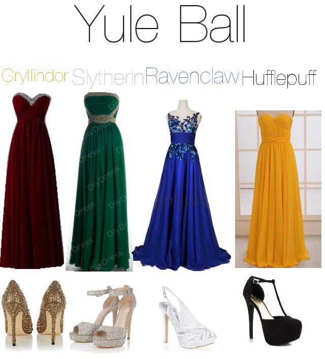 I love all of these dresses! (Harry Potter polyvore outfit. Yule ball. Gryffindor, Slytherin, Ravenclaw, Hufflepuff)