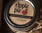 Lot d'étiquettes Moonshine tarte aux pommes de 20 ronds 2inch mason jar autocollant étiquettes kraft brun papier texturé campagne rustique chalet look vintage