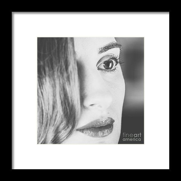 Black And White Portrait Of Beautiful Classy Girl Framed Print