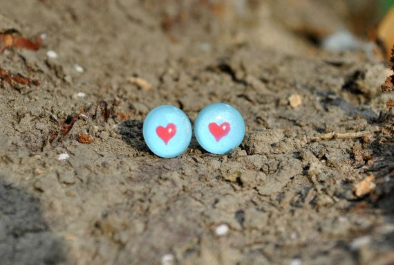 Tiffany Blue and Red Heart Nail polish Cabochon stud earrings - Red Heart Cabochon post earrings - Blue stud earrings - Unique Gift for her
