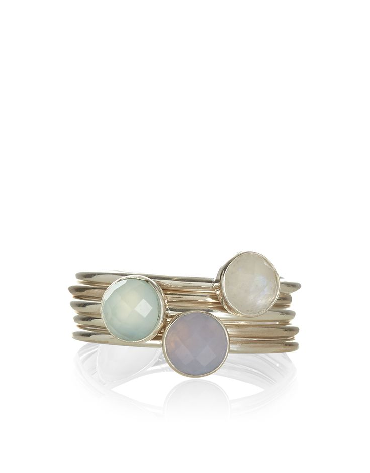 5 x Semi Precious Stacking Rings