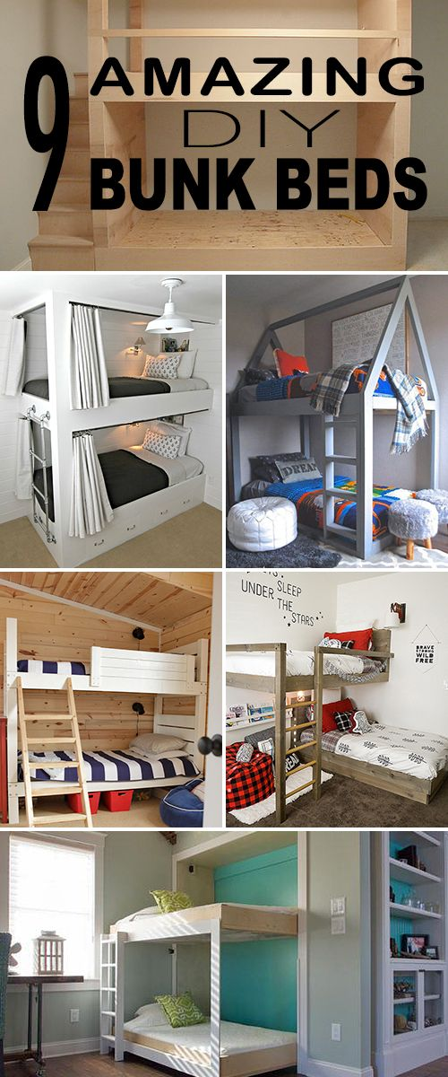 9 Amazing DIY Bunk Beds! • Great ideas, projects and tutorials for you to try! #DIY #DIYbunkbeds #bunkbeds #DIYhomedecor #DIYbunkbedprojects