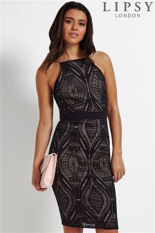 Lipsy Geometric Lace Halter Dress