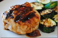 Turkey Burgers filled with Goat Cheese and topped with an Apricot Glaze