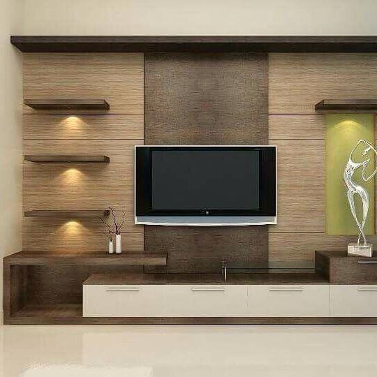Prateleiras iluminadas no rack da sala kitchen design in - Modern showcase designs for living room ...