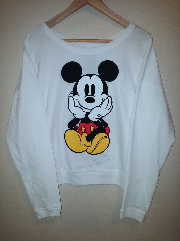 NEW Disney Front/Back Mickey Mouse Sweatshirt Long Sleeve Top Womens Medium