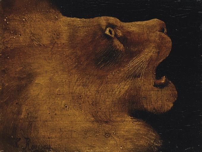 Henri 'Le Douanier' Rousseau / Tête de lion / oil on board / via Christie's