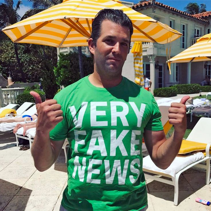 "Donald Jr the 3rd favorite child of Donald Trump (he goes by looks) In an Instagram post on Easter from Mar-a-Lago, Donald Jr. presents himself in a T-shirt with the slogan ""Very Fake News."" ""I think I'm going to have to buy a few thousand of these to pass around to our buddies in the Main Stream Media,"" he writes in a caption.He has friends????"