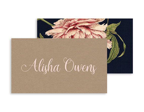 Boho blush place card - Botanical rustic reception - Boho peonies buffet and escort card set - Navy, Pink, kraft - 3.5x2(tent)   Pink peony by NicyaPrintables on Etsy