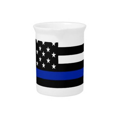 Police Flag with Officers Beverage Pitcher - office decor custom cyo diy creative