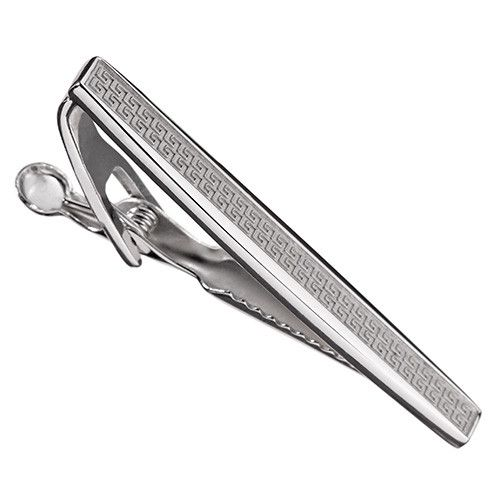 Attention to Detail Make sure that your tie is always in place and add a touch of metal with this tie bar crafted in sterling silver and engraved with a subtle Greek pattern. - Crafted in 925 sterling