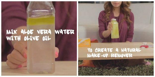 Create a DIY make-up remover with olive oil and aloe vera water | 23 DIY Natural Beauty Tips