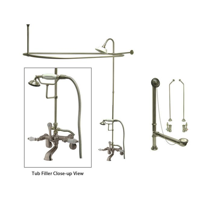 Satin Nickel Clawfoot Tub Shower Faucet Kit with Enclosure Curtain Rod 55T8CTS